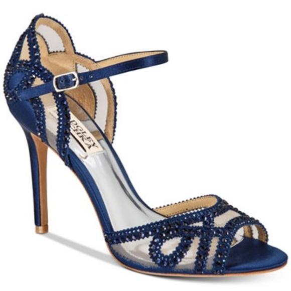 a0e42992b Badgley Mischka Shoes - Badgley Mischka Tansy High Heels Navy Satin